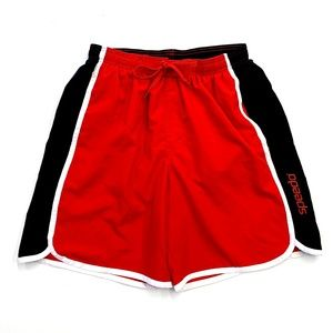 Men's Black and Red Speedo Swim Trunks